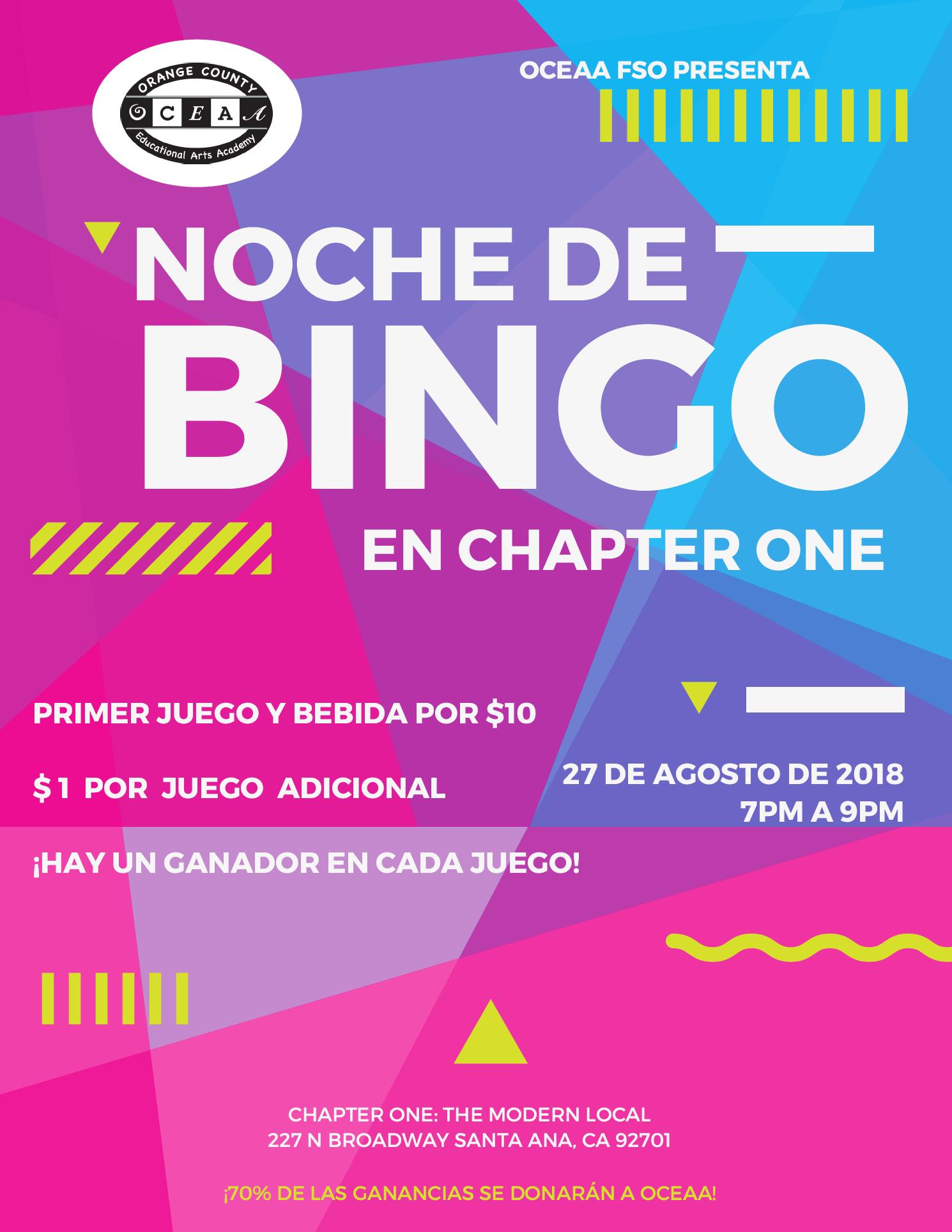 Noche de bingo para una escuela charter en santa ana