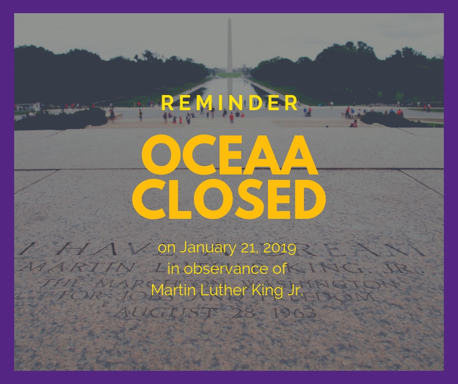 OCEAA closed on MLK day